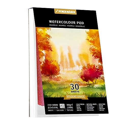 Papel de Acuarela A5 *30 Sheets para pintura de acuarela, prensado en frío, 140 lb / 300 g / m2, bloc de dibujo de acuarela, ideal para viajar PENCILMARCH