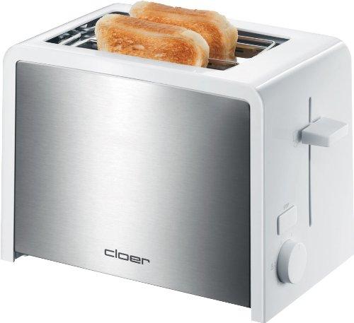 Cloer 3211 Toaster / 825 W / für 2 Toastscheiben / integrierter Brötchenaufsatz / Nachhebevorrichtung / Krümelschublade / wärmeisoliert / Edelstahl