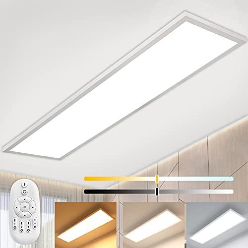 Plafoniera LED Soffitto Dimmerabile 120x30cm con Telecomando, Luminosità Regolabile (40W, Bianco Caldo/Naturale/Freddo 2700K - 6500K), Pannello LED con Diretto Forte Luminosità Luce