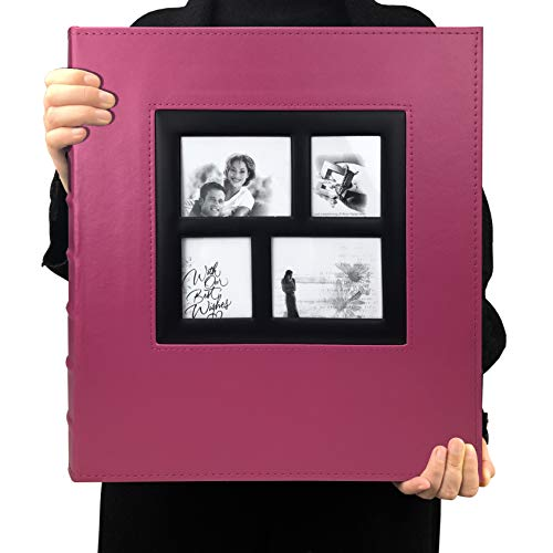 RECUTMS Photo Album 4x6 600 Photos Black Pages Large Capacity Leather Cover Wedding Family Photo Albums Holds 600 Horizontal and Vertical Photos (Pink, 600 Pockets)