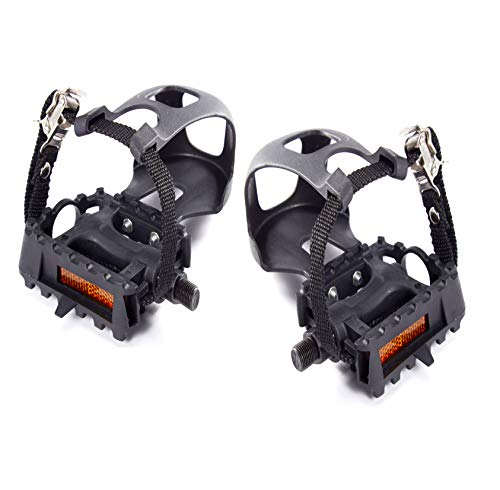 AbraFit 9/16-Inch Resin ATB Mountain Bicycle Pedals w/Toe Clip & Straps, Easy to Install, Nice Toe-Room Area