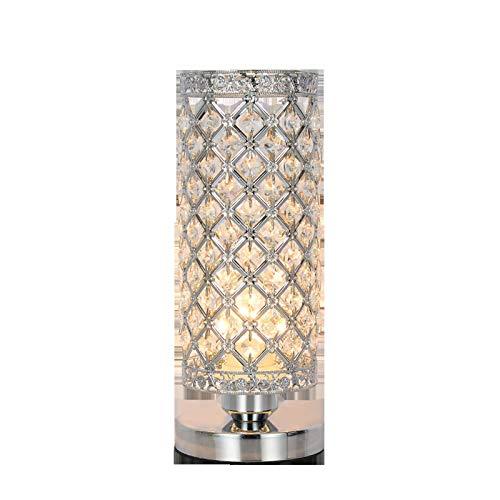 HTZ-M Lámpara De Mesa De Cristal, Lámparas De Escritorio De Noche Moderna, E27 para Sala De Estar Habitación Tocador Decoración De Mesa Regalo Ideal Plata (Bombilla No Incluida)