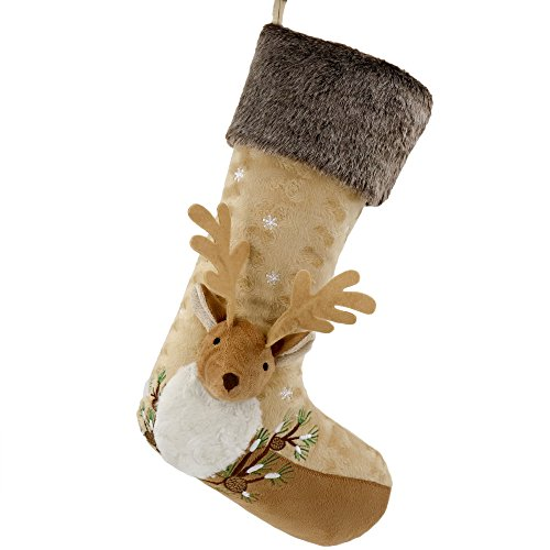 Valery Madelyn 21 inch Woodland Christmas Stockings with 3D Reindeer, Themed with Tree Skirt (Not Included)