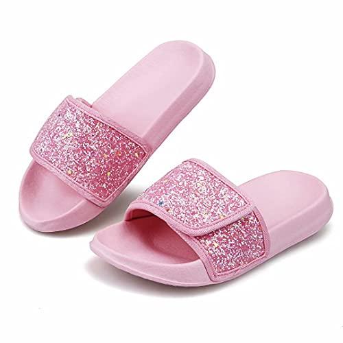 Zapatos Ducha Sandalias de Piscina Niña Antideslizantes Chanclas Zapatillas de Verano Brillantina(Rosa, EU 37)