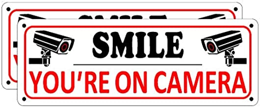 Smile You're on Camera Sign, 2 Pack Video Surveillance Sign, 10 x 3.5 inches Home Security Signs for House Business, Metal Camera Warning Sign Outdoor, Aluminum CCTV Sign for Yard