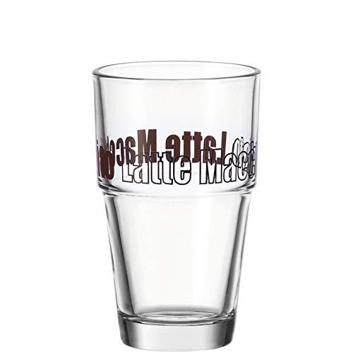 Leonardo Solo Latte-Macchiato Glas, Glas-Becher mit Aufdruck, spülmaschinengeeignete Kaffee-Gläser, 6er Set, 410 ml, 043399