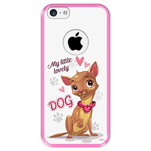 Hapdey Funda Rosa para [ iPhone 5C ] diseño [ Perrito Chihuahua Lindo - My Little Lovely Dog ] Carcasa Silicona Flexible TPU