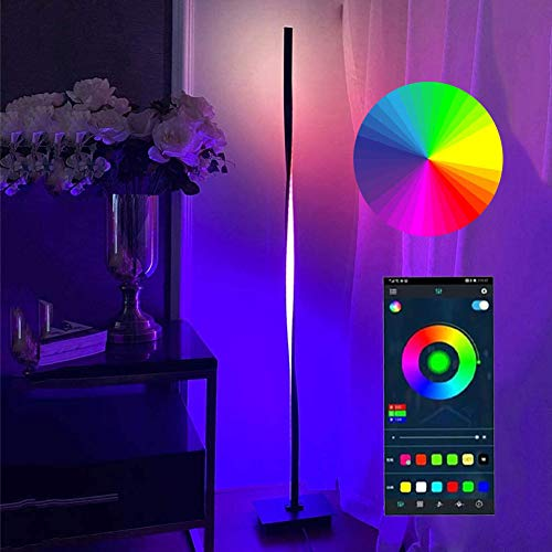 HAITOY LED Lámpara Pie Salon, RGB Regulable con Control Remoto, Moderna Luz De Esquina Dormitorio Lámpara De Lectura, Luz Ambiental Vistoso para Estudio Restaurante Habitación De Niños,B