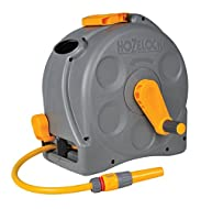 Can be wall mounted or used as a free standing reel Enclosed casing for added protection from wear and tear. Large winding handle for hassle free manual rewinding. Lightweight design and folding carry handle allows the hose reel to be fully portable....