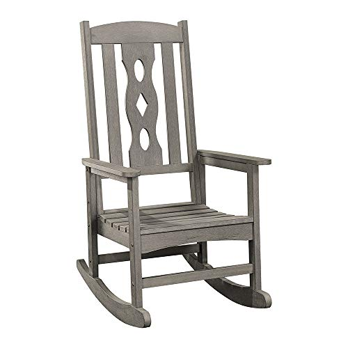 PolyTEAK Curved Poly Outdoor Rocking Chair, Stone Gray | Adult-Size, Weather Resistant, Porch and Patio Rocker | Made from Special Formulated Poly Lumber Plastic