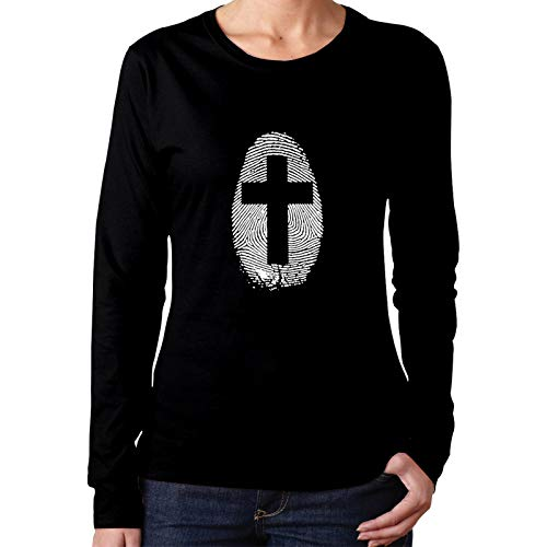 Cross Thumbprint Women's Long Sleeve T-Shirt Cotton Comfortable Casual Fashion Tops Tees Black
