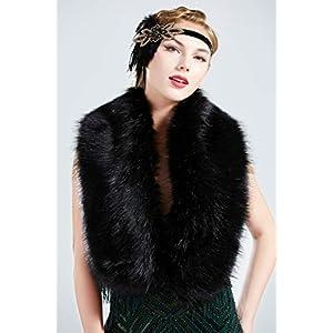 "BABEYOND Women's Faux Fake Fur Collar Shawl Faux Fur Scarf Wrap for Winter Coat 1920s Flapper Outfit 120cm/47.2"" Long (Black)"