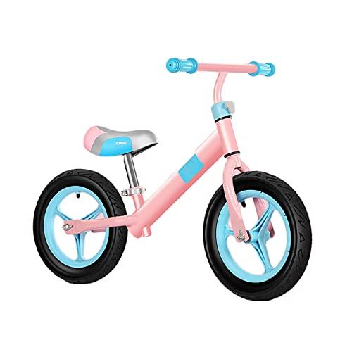 HLEZ Bicicleta Sin Pedales Sillín Regulable 30-40Cm Mini Bici Bebés Infantil Andadores Bebé Equilibrio con Sillín Y Manilar Regulable Regalo del Niño,Rosado,Inflatable Wheel