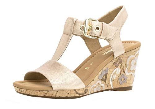 Gabor 22.824 Femme,Sandales compensées,Sandales,Sandales compensées,Chaussures d'été,Confortable,Plat,Comfort-Mehrweite,Light Rose (FL.mu.),6 UK