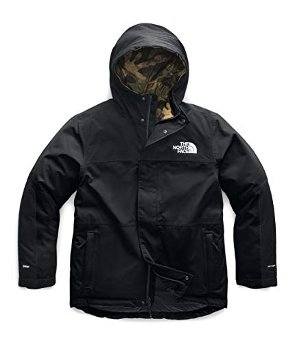 The North Face Men's Balham Insulated Jacket, TNF Black/Burnt Olive Green Waxed Camo Print, L