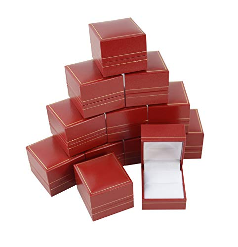 Leatherette Ring Boxes Jewellery Gift Box Packaging Red Gold Engagement Rings Holder Storage Bundle Pack (12)
