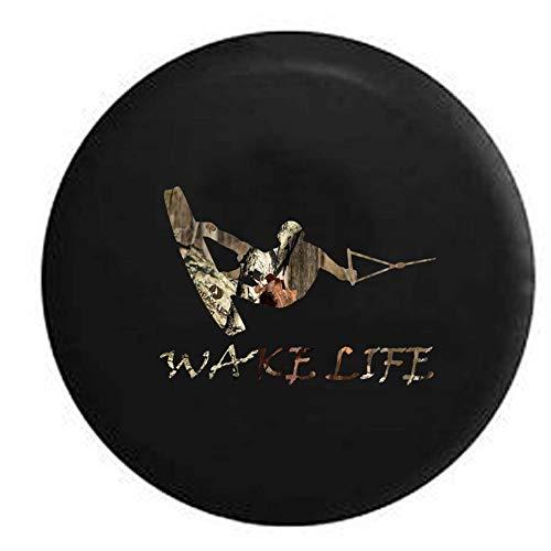 N / A Universal Reifentaschen,Reserveradabdeckung,Reserveradhülle,Wake Life Board Wakeboarden Bootfahren Ski Anhänger Rv Ersatzreifenabdeckung OEM Vinyl Schwarz,80-83Cm