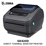 Zebra GX420t Monochrome Desktop Direct Thermal/Thermal Transfer Label Printer with Fast Ethernet Technology
