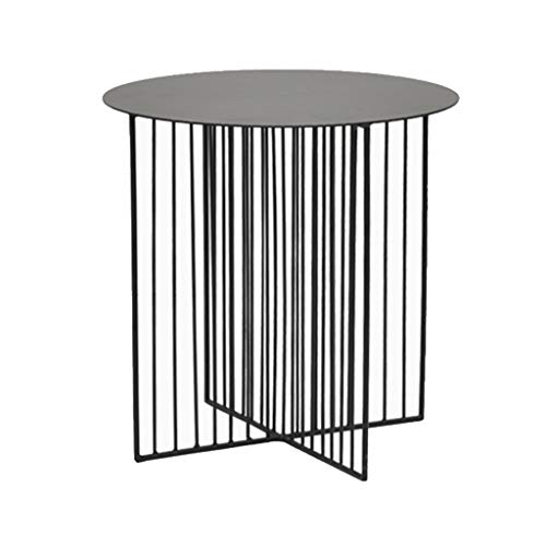 Table family CSQ Haushalts-Eisen-Kunst-Sofa-Tabelle, kreatives Wohnzimmer-Metallkleiner runder Tabellen-Eisen-Kunst-Kaffee-Tabellen-Ecke EIN Paar Kaffee-Tabelle 45 * 45 * 45cm (Farbe : SCHWARZ)