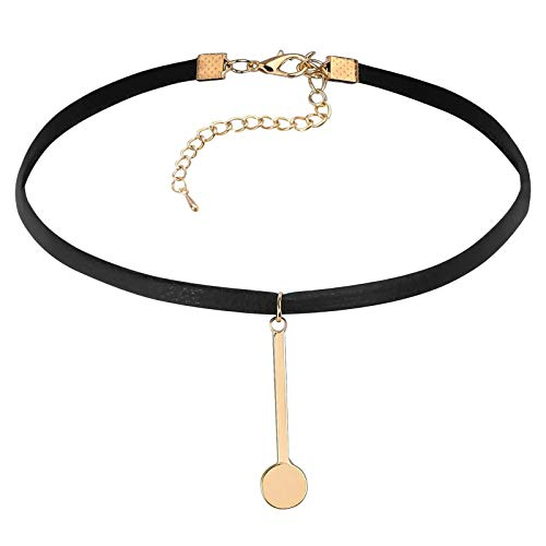 Daesar Mujer Gargantilla Acero Inoxidable Colgante Redondo Tag Oro Negro Choker Collar Cadena 32.5+7CM