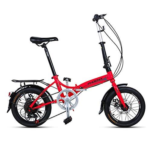Klapprad 16 Zoll Männer und Frauen Modelle Leichtes Klapprad Fahrrad Erwachsene Mini Speed Auto Doppelscheibe Bremse Klapprad (Farbe: ROT Größe: 150 * 30 * 96CM)