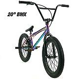 "Elite 20' & 18"" BMX Bicycle Destro Model Freestyle Bike - 4 Piece Cr-MO Handlebar (20' Neo..."