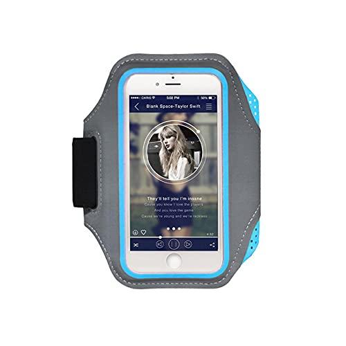 Brazalete de teléfono Correr Brazalete de teléfono Titular de lycra azul respetuoso con la piel PVC compatible para teléfono móvil de 5.5 pulgadas
