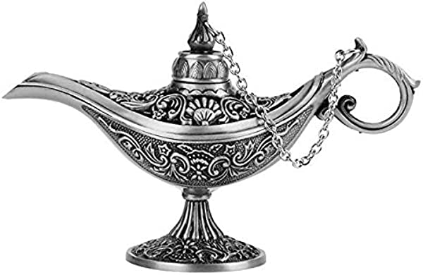 Alemozala Metal Carved Aladdin Lamp Magic Vintage Home Tea Oil Pot Arabian Art Craft Gift Rare Retro Legend Color Aladdin Genie Light Wishing Lamp Pot Collectable Old Silver