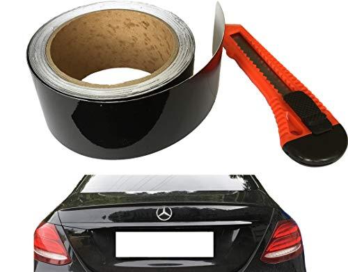 10Meter Premium Autofolie Schwarz Metallic für Chromleisten Grille Zierleisten folieren - Folie inkl. CUTTER Do It Yourself Ohne Lackieren – für Laien - 5cm Breit x 10Meter