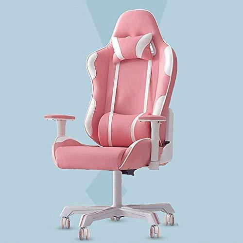 Home Equipment Silla para juegos Pink Girl Heart Respaldo alto Silla para computadora Giratoria ergonómica Silla de cuero para oficina ejecutiva Silla de escritorio para videojuegos (Rosa) Accesori