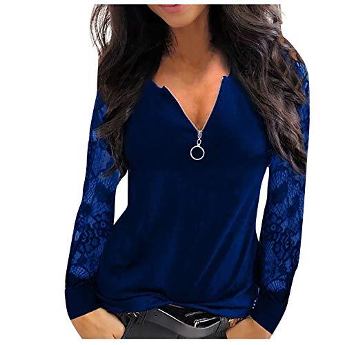 Longshirt Damen Oberteile Tshirt Langarm Shirt Bluse Tunika Tops Damen Mode Casual Lace Mesh Stitching V-Ausschnitt Reißverschluss Langarm (S,1Blau)