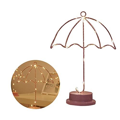 Wenyounge Lámpara de Noche LED, lámpara de Noche de Hierro Forjado en Forma de Paraguas, luz Nocturna, decoración romántica para el hogar, lámpara de Estilo nórdico con Pilas