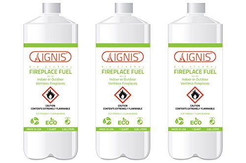 Ignis Bio Ethanol Fireplace Fuel for Ventless Fireplaces - 3 Bottles