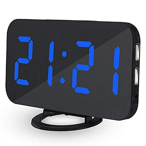 SANON Reloj Despertador Led Reloj Digital con Espejo 6. 6 con Atenuador de 3 Modos Y Puertos USB Duales para Oficina de Dormitorio Niños Adultos Fácil de Usar Teléfono Inteligente