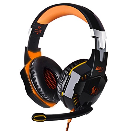 KingTop EACH G2000 Cuffie Gaming con Fascia Microfono Stereo Luce Bass LED per PC, Arancio e Nero