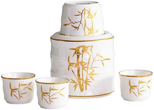 ZTMN Juego de 6 Piezas de Sake, Juego de Copas de Vino de Porcelana China con Olla más cálida y Cajas de Regalo, diseño de patrón de bambú Dorado, para frío/Calor/Shochu/té, Taza