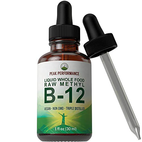 Raw Whole Food Methyl B12 Liquid Drops. Best Vegan Advanced B 12 Liquid Vitamin Supplement. High Bioavailability Methylcobalamin B-12 for Energy and Stress Relief. for Men and Women