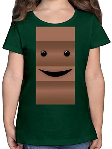 Karneval & Fasching Kinder - Partner-Kostüm Milch und Schokolade Er - 116 (5/6 Jahre) - Tannengrün - kostüm Schokolade Kinder - F131K - Mädchen Kinder T-Shirt