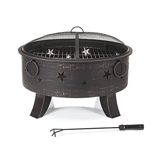 Tobago 28' Round Black Steel Fire Pit with Stars Design and Barbecue Grill