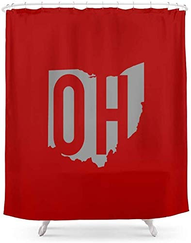 Ohio State Pride Shower Curtain Waterproof Polyester Bathroom Decoration Curtains with 12 Hooks 60x72 Inches