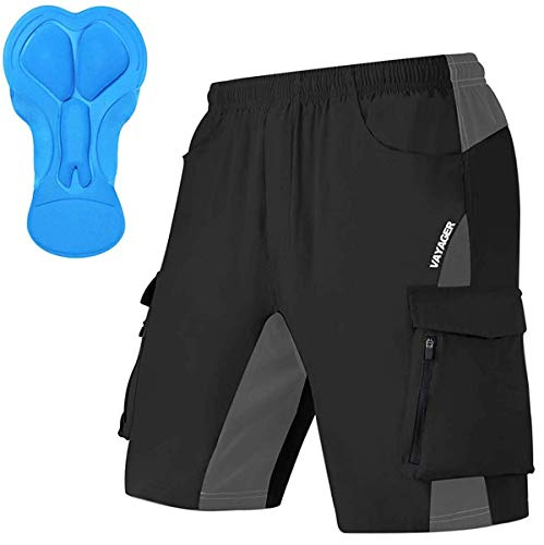 Men's Mountain Bike Shorts 3D Padded Bicycle MTB Shorts Loose-fit Lightweight MTB Cycling Shorts(Black M)