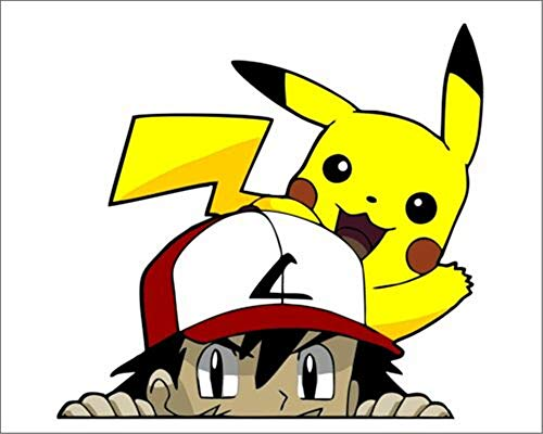 Ash & Pikachu Peeker Peeking Venster Vinyl Decal Anime Stickers Pokemon Kaarten