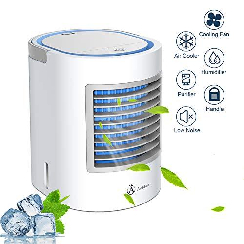 Klimagerät Mobil,Anbber persönlicher 4 in 1 Mini Luftkühler Mobile Klimageräte und Luftreiniger mit Nachtlicht, 3 Leistungsstufen für Home Office-Camping (Grau)