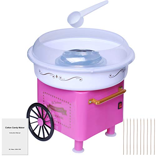 JK-1801 Electric Mini Cotton Candy Machine for Kids, Nostalgia Cotton Candy Machine Hard Candy Maker Kit, Portable Cotton Candy Floss Maker for Kids Birthday and Family Party