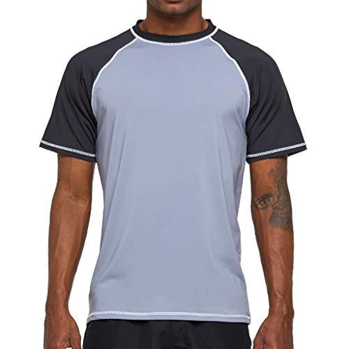 Arcweg Camiseta Hombres Mangas Cortas Rash Guard de Protección UPF 50+Secado Rápido Deportes Acuáticos Surf Natación Verano Gris Claro y Oscuro L(EU)