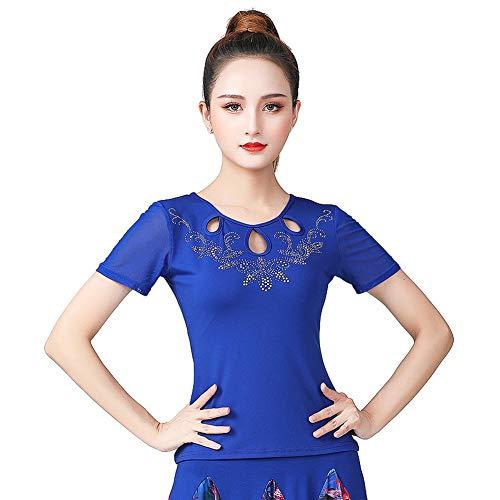 LNIGHT 社交ダンス トップス シンプル フラダンス tシャツ レディース ベリーダンス衣装 ラテンダンス 練習着 ダンスウェア ブラウス(ブルー,4XL)