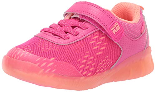 Stride Rite Unisex Boy's and Girl's Neo Athletic Light-Up Mesh Sneaker, Pink, 1 M US Little Kid
