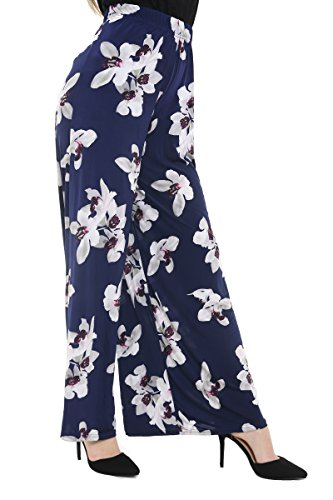 Plus Size Womens Plain Palazzo Wide Been Flared dames broek broek - 16-26, Navy Floral, 20to22