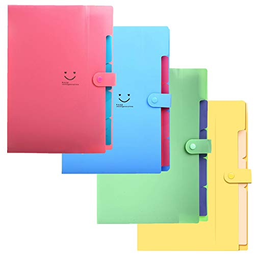 Expanding File Folder - A4 Letter Size, 5 Pockets, Document Organizer, Accordion Folder with Snap Button Closure, Premium PP Material, Waterproof, Acid Free (4 Pack-5 Pockets)