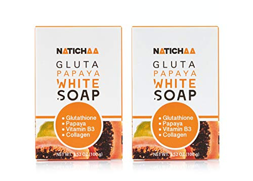 Glutathione Papaya White Soap (2 Pack) - Natural Skin Brightening - Dark Spots, Acne Scars - Acquire a Soft, Silky Smooth Skin for Body & Facial